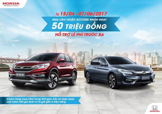 Honda Việt Nam tặng 50 triệu đồng khi mua xe Honda Accord và CR-V