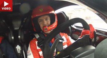 Sebastian Vettel vừa lái Ferrari FXX K vừa trò chuyện với fan