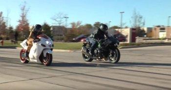 Suzuki Hayabusa cho Kawasaki Ninja H2 hít khói trên đường đua