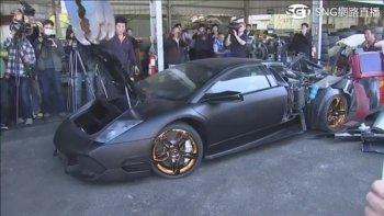 Siêu xe Lamborghini bị nghiền nát vì nhập lậu