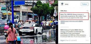 BMW i8 đi phố ngập nước ở Việt Nam lên mạng thế giới