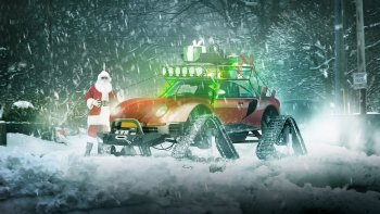 Ông già Noel chở quà bằng siêu xe