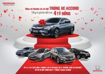 Cơ hội trúng Accord khi mua xe Honda trong tháng 7
