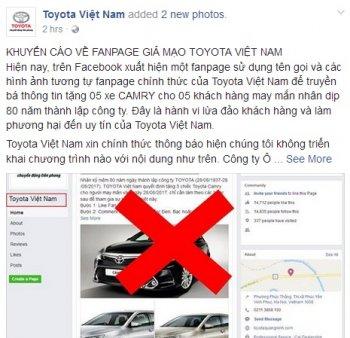 """Toyota Việt Nam """"cảnh báo"""" về fanpage giả mạo trên Facebook"""