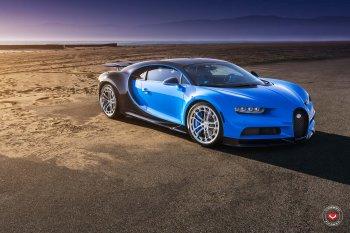 """Siêu xe Bugatti Chiron """"thôi miên"""" người dùng với bánh mâm độ 24inch Vossen"""