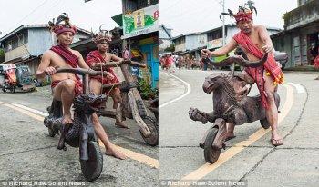 """""""Siêu xe đạp"""" gỗ xuống dốc cực ngầu  của thổ dân Philippines"""